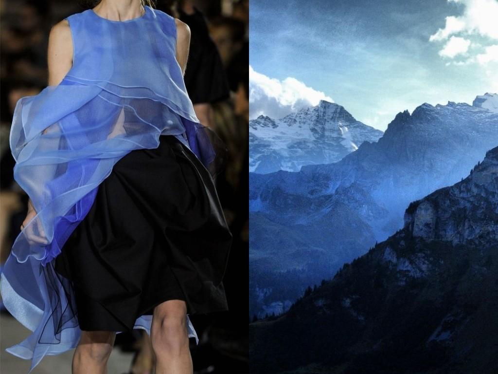 ジョン・ガリアーノ(2013年初夏、既製服)とスコットランドの山。
