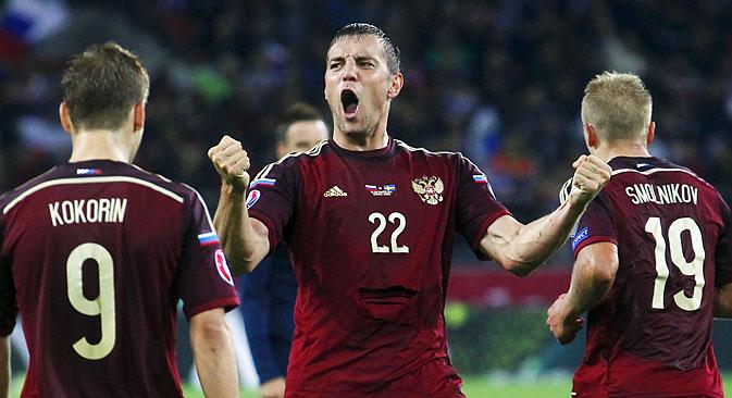 Russian football player Artem Dzyuba against Sweden Euro 2016, Moscow, September 5, 2015. Source: Reuters