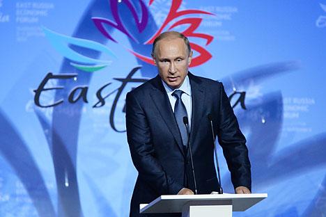 September 4, 2015. Russian President Vladimir Putin speaks at the opening of the first Eastern Economic Forum in Vladivostok.
