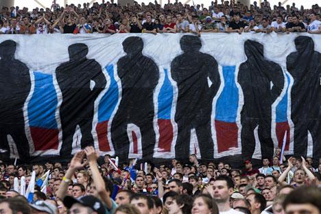 Des supporters de l'équipe de Russie de football.