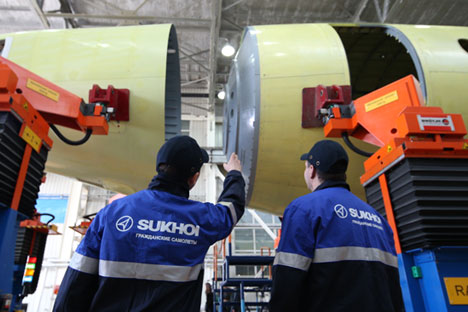 Assembling the fuselage of a hundredth passenger airplane Sukhoi Superjet 100 at the Gagarin Aircraft Manufacturing Enterprise in Komsomolsk-on-Amur