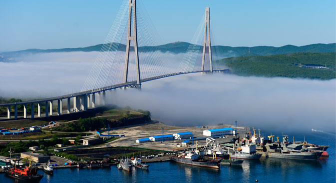 Russia. Vladivostok. The view from the helicopter on the cable-stayed bridge over the Bosphorus eastern Russian island