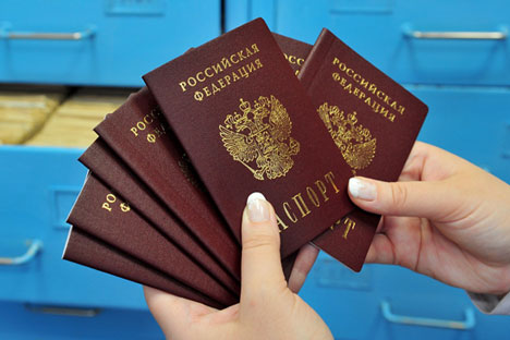 RYAZAN, RUSSIA. MARCH 3, 2014. Russian passports at the office of the Ryazan region branch of the Federal Migration Service