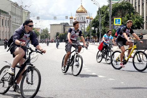 Russia. Moscow. 12 July 2015. Participants of a bike ride