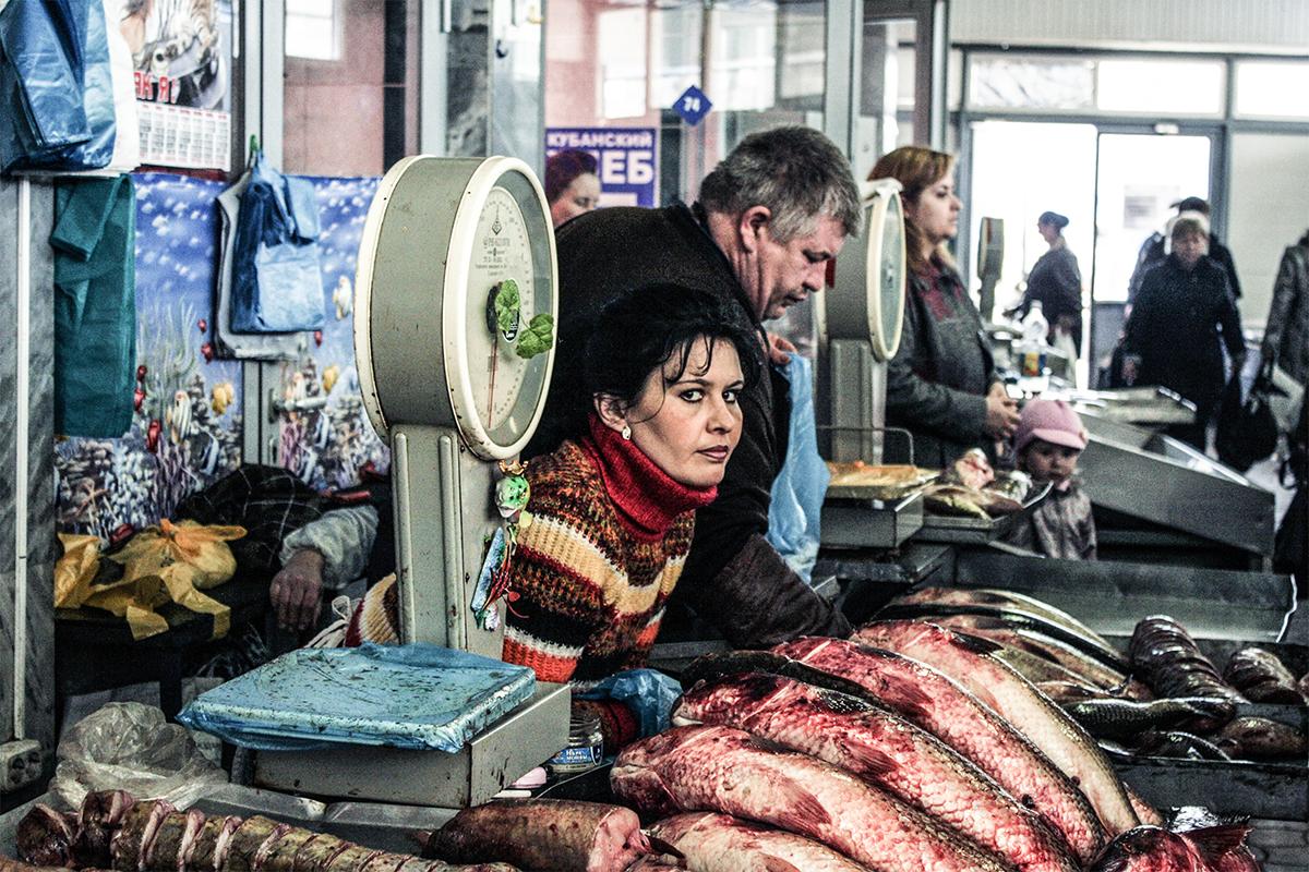 Bancarella al mercato di Krasnodar