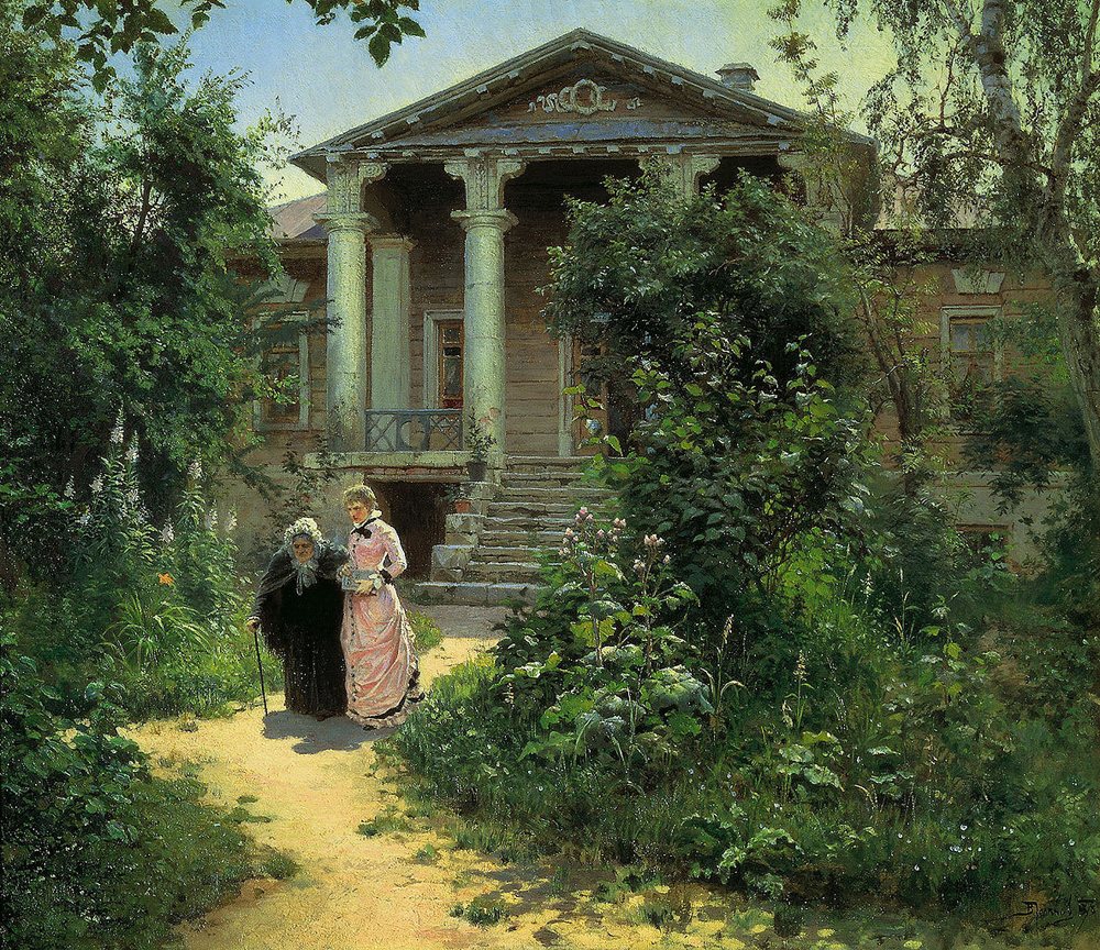 Summer in Russia is extremely short. Back in the times, it was the season of work and play, in the Far North the sun never went down./Grandma's garden, 1878, Vasily Polenov.