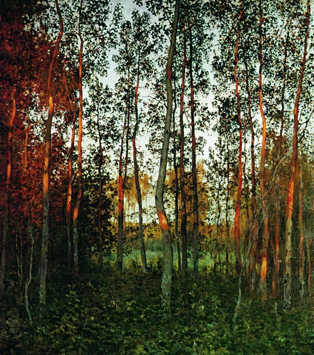 The last rays of the sun. Aspen forest, 1897, Isaak Levitan.