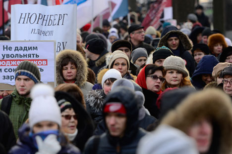 Moscou, Russie, le 30 novembre 2014 : Les medecins protestent contre des licenciements massifs et la fermeture d'hôpitaux.