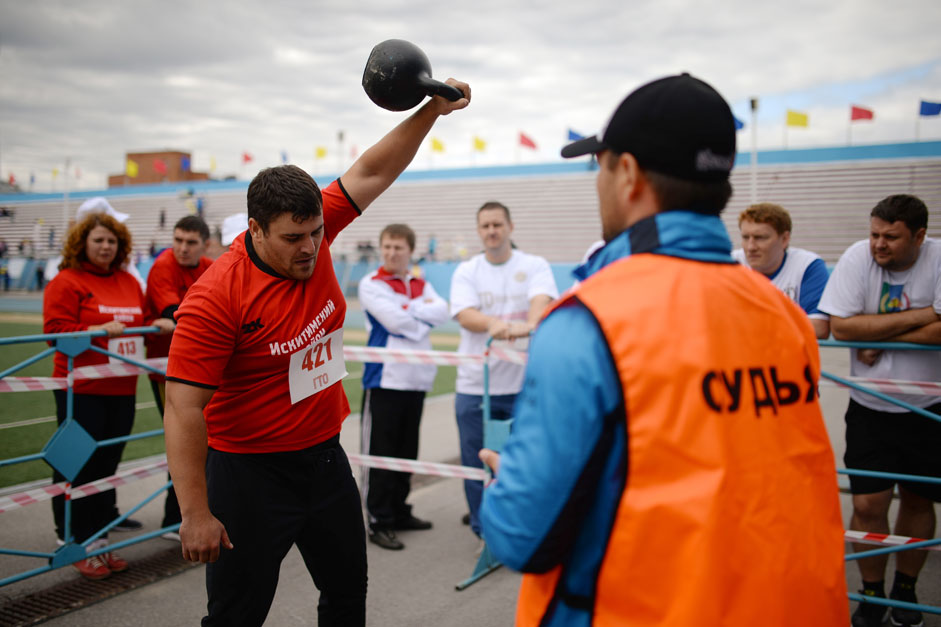 "A resident of the Novosibirsk region participates in the regional summer festival of the Russian National Fitness and Sports Program ""Ready for Labor and Defense"" at Novosibirsk's Sibselmash stadium."