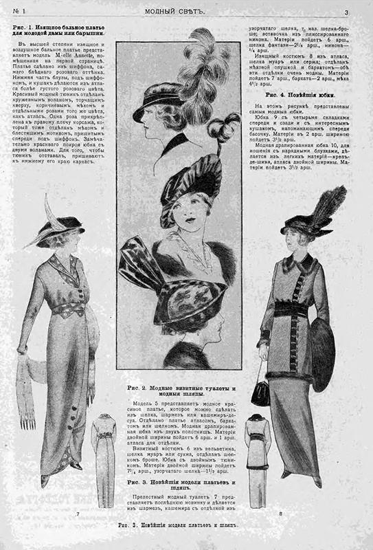 この雑誌は、ウール、木綿、カシミア、サテンを含む様々な生地を使用することを提案した。フリルや装飾には、毛皮、ビロード、シフォンや、さらには花までもが薦められされた。/ 訪問着としてぴったりのスタイリッシュなドレスと帽子。