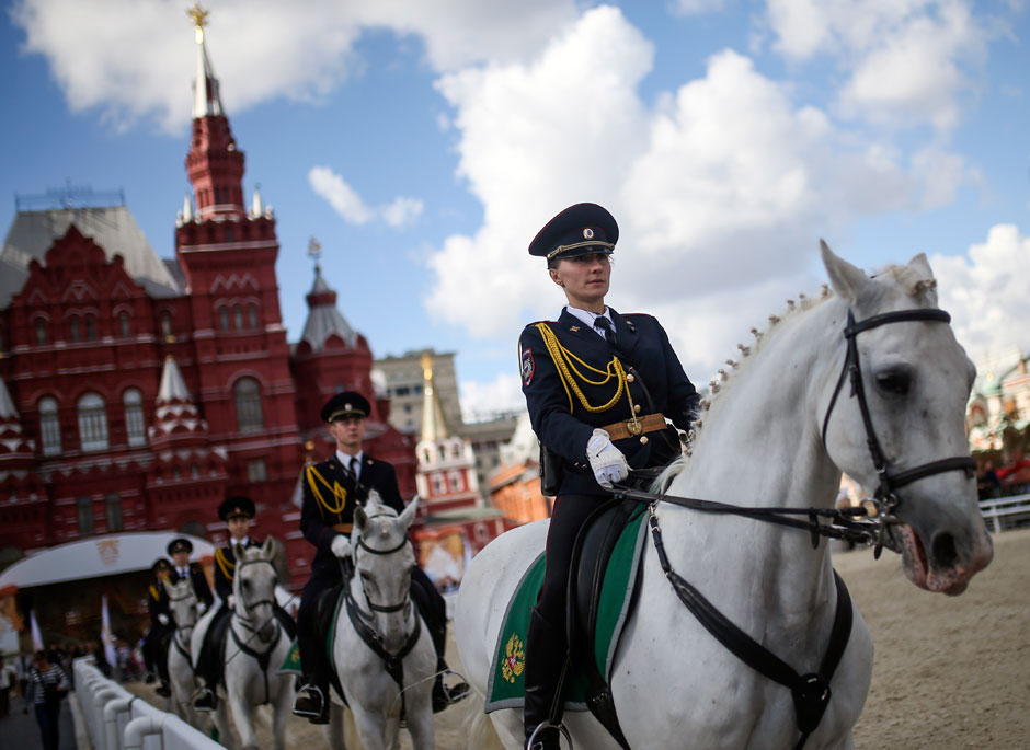 "Russia. Moscow. 31 August 2015. Mounted police on Red Square during the preparations for the festival ""Spasskaya Tower""."