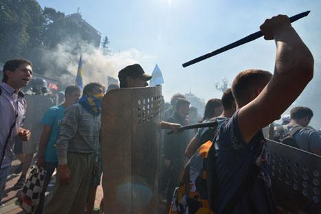 Protestations à Kiev près de la Rada d'Ukraine.