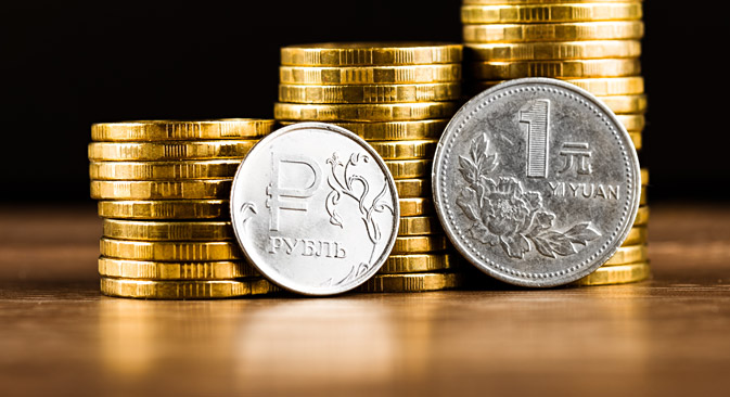 The Russian rouble coin and Chinese One Yuan Coin