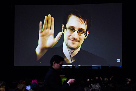 Former U.S. National Security Agency contractor Edward Snowden appears live via video during a student organized world affairs conference at the Upper Canada College private high school in Toronto, Feb. 2, 2015.