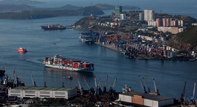 La città di Vladivostok vista dall'alto