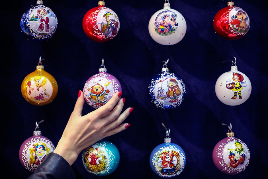 MOSCOW, RUSSIA. SEPTEMBER 8, 2015. Christmas baubles on display at the 2015 Christmas Time/100 days before the New Year exhibition at Moscow's Central House of Artists.