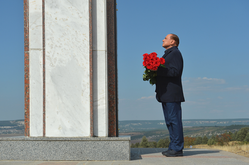 September 11, 2015. Italy's former Prime Minister Silvio Berlusconi lays flowers at the memorial to the soldiers from the Kingdom of Sardinia killed in the Crimean War, near Mount Gasfort in Crimea.