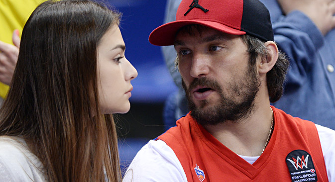 Ice hockey player Alexander Ovechkin and actress Anastasia Shubskaya during the VTB United League semifinal between PBC CSKA Moscow and BC Nizhny Novgorod. Source: Alexei Filippov / RIA Novosti