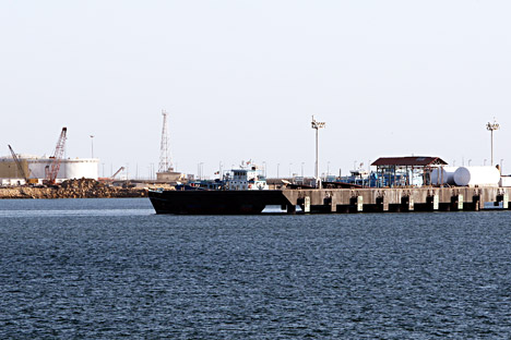 A general view of the Kalntari oil dock of the Sea of Oman near the strait of Hormuz in the city of Chabahar, south-eastern of Iran.