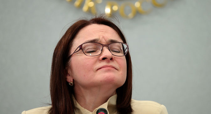 MOSCOW, RUSSIA. SEPTEMBER 11, 2015. Russian Central Bank Governor Elvira Nabiullina gives a press conference following a meeting of the Central Bank Board of Directors. It was decided to maintain the key rate at 11% per annum because of higher inflation risks.  Foto: Newscom/Vostock-Photo