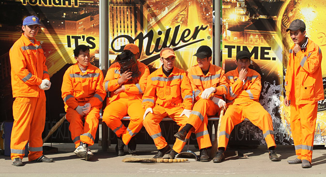Des travailleurs migrants à Moscou.