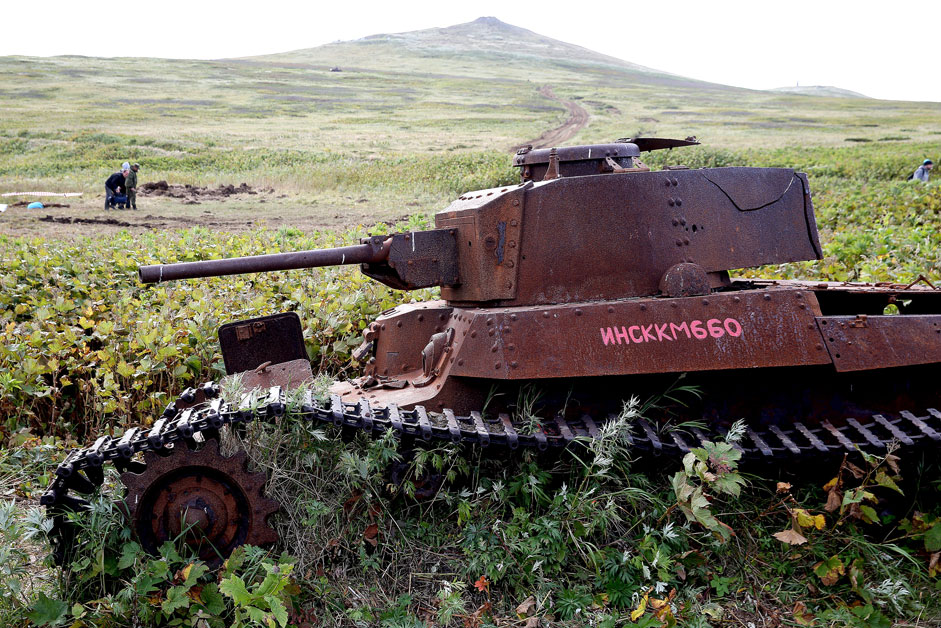 A view of a Japanese Shinhoto Chi-Ha tank discovered during a search expedition of Russia's Defense Ministry and the Russian Geographical Society on the island of Shumshu of the Kuril Islands chain.