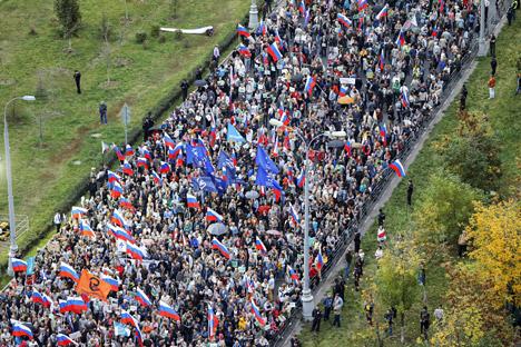 Moscou, le 20 septembre 2015 : La manifestation a rassemblé, selon le ministère de l'intérieur, 4 000 personnes, 7 000 selon les organisateurs.