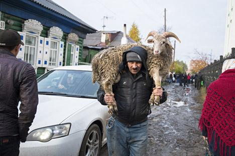Orang Islam membawa domba untuk melakukan penyembelihan selama perayaan Eid al-Adha di kota Omsk.