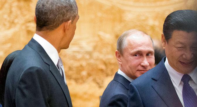 Il Presidente russo Vladimir Putin, a destra, insieme al Presidente Usa Barack Obama