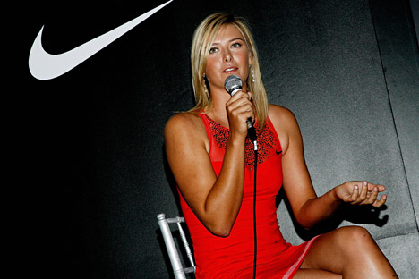 Tennis player Maria Sharapova unveils her new night dress performance designs by Nike for her 2007 U.S Open title defence on August 22, 2007 in New York City.