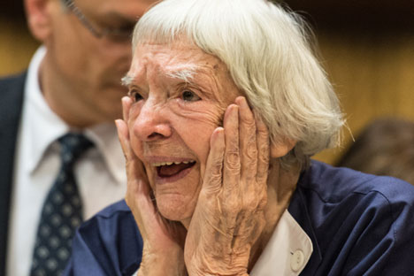 Veteran Russian human rights defender Ludmilla Alexeeva reacts after winning the third Vaclav Havel Human Rights Prize in the Council of Europe in Strasbourg, France, on Sept. 28 2015. Source: EPA