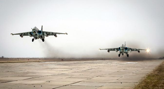 Sukhoi Su-25 jet fighters