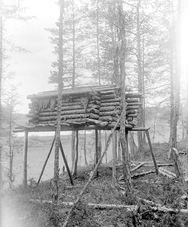Small wooden log houses usually were built on high ground to avoid damage from snow and water.