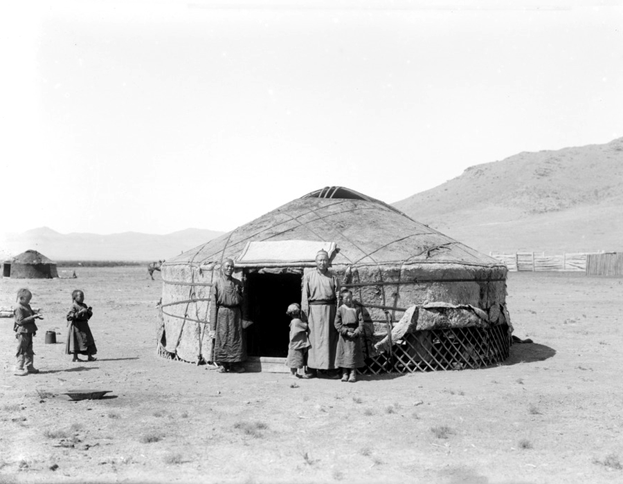 This is what a yurt looked like when assembled. Only 10 percent of the population lived in cities. The rest lived in settlements or wandered from place to place, since they were primarily deer-herders.