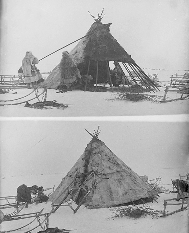"A ""winter yurt"" — basically just a small tent, but covered with animal skin and fur."