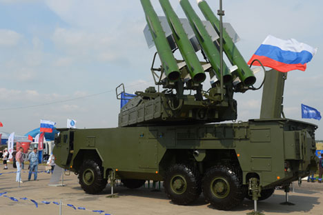 A BUK-M2E surface-to-air missile system on display during the International Aerospace Salon (MAKS 2015) in Zhukovsky near Moscow.