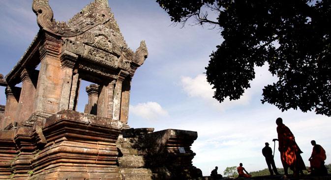 Cambodian Buddhist monks at Preah Vihear temple in Preah Vihear province, Cambodia, 2008.