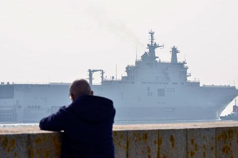 Saint-Nazaire, France, le 16 mars 2015 : Le BMP Mistral « Sébastopol ».