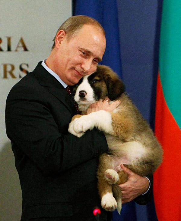 13 novembre del 2010, SofiaUn cuore tenero per un uomo d'acciaio: Putin abbraccio il cane regalatogli dal primo ministro bulgaro Bojko Borisov