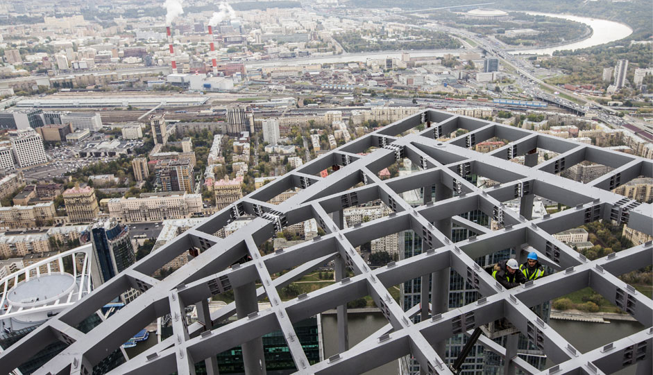 "Russia. Moscow. 7 October 2015. Installation work roof multipurpose business complex ""Federation Tower"" in the Moscow International Business Center ""Moscow City""."