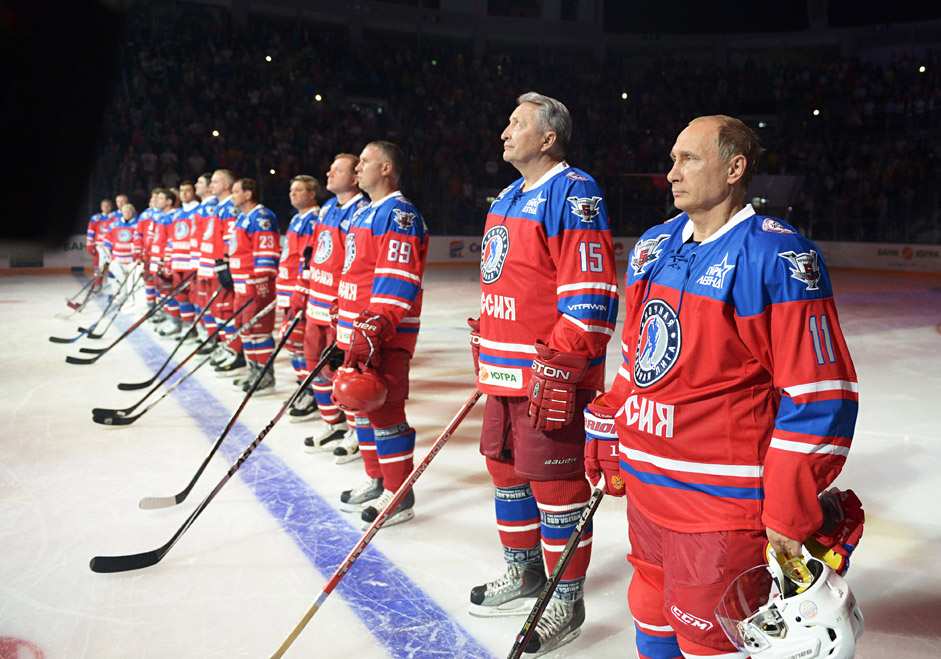 October 7, 2015. From right: Russian President Vladimir Putin and President of the Night Hockey League Alexander Yakushev before the match between the team of the Night Hockey League champions and the team of the league's board members and honorary guests.