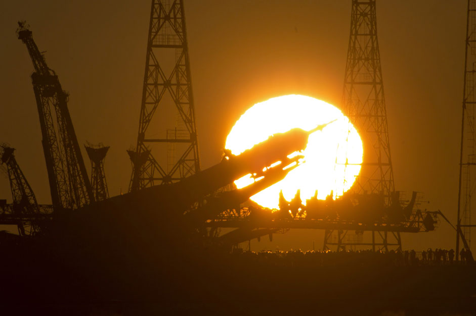 The Russian Soyuz TMA-19M space ship that will carry new crew to the International Space Station (ISS) is fixed vertical at the launch pad at sunrise in the Russian leased Baikonur cosmodrome, Kazakhstan, Sunday, Dec. 13, 2015. Start of the new Soyuz mission is scheduled on Tuesday, Dec. 15. The Russian rocket will carry U.S. astronaut Tim Kopra, Russian cosmonaut Yuri Malenchenko and British astronaut Tim Peake.