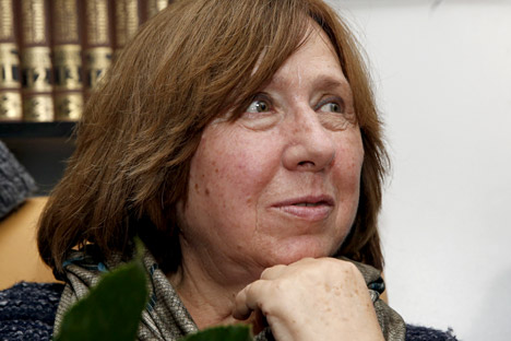 Belarussian author Svetlana Alexievich attends a news conference in Minsk, Belarus, Oct. 8. Source: Reuters