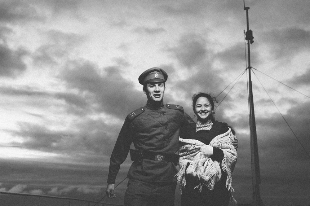 Бродот ги преживеал двете светски војни, Октомвриската револуција, граѓанската војна и распадот на СССР. На сликата: Семјон Алферов и Елена Зубарева.