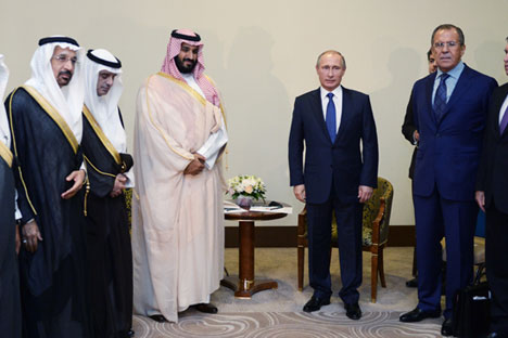 Saudi Arabia's defence minister, Prince Mohamed bin Salman (4th L), and Russia's president Vladimir Putin (3rd R), foreign minister Sergei Lavrov, and presidential adviser Yuri Ushakov (R) during a meeting in Sochi.