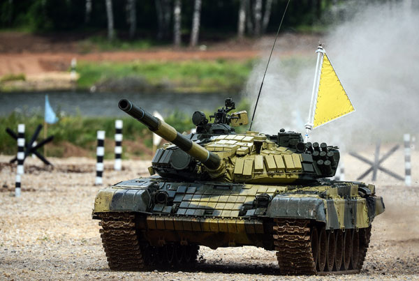 Tank crew of the Eastern Military District during the Tank Biathlon 2014. competition.