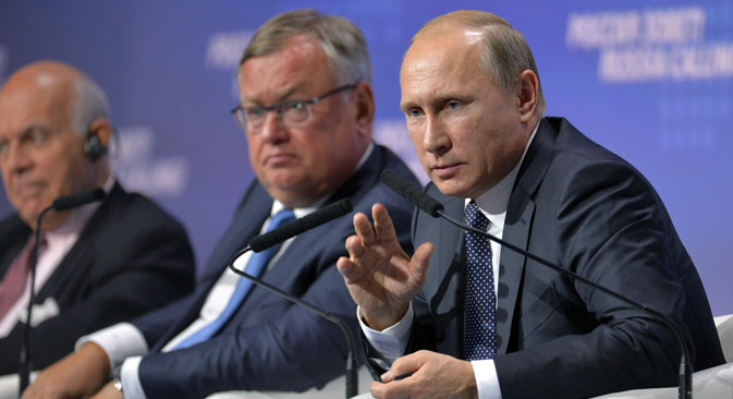 Presiden Rusia Vladimir Putin di acara Rusia Calling ke-7, Selasa (13/10). Forum Tahunan VTB Capital Investment diadakan di Pusat Perdagangan Internasional di Moskow.