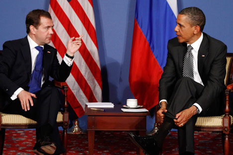 Barack Obama and Dmitry Medvedev speak during the G8 Summit in Deauville May 26, 2011. Source: Reuters