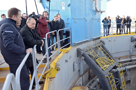 Vladimir Putin visits the construction work at the Vostochny Cosmodrome, Oct. 14. Source: RIA Novosti/Alexey Nikolsky