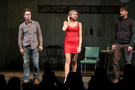 Sam Rockwell, Nina Arianda and Tom Pel during the Broadway Opening Night performance Curtain Call for 'Fool For Love' at the Samuel J. Friedman Theatre, on Oct. 8, 2015 in New York City. Source: Getty Images